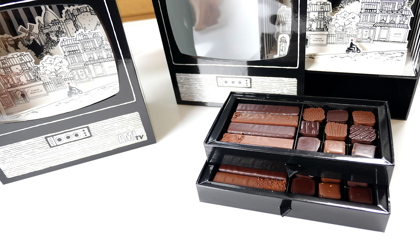 Coffret AMI, barre² chocolat, collab Pierre Marcolini et Alexandre Mattiussi