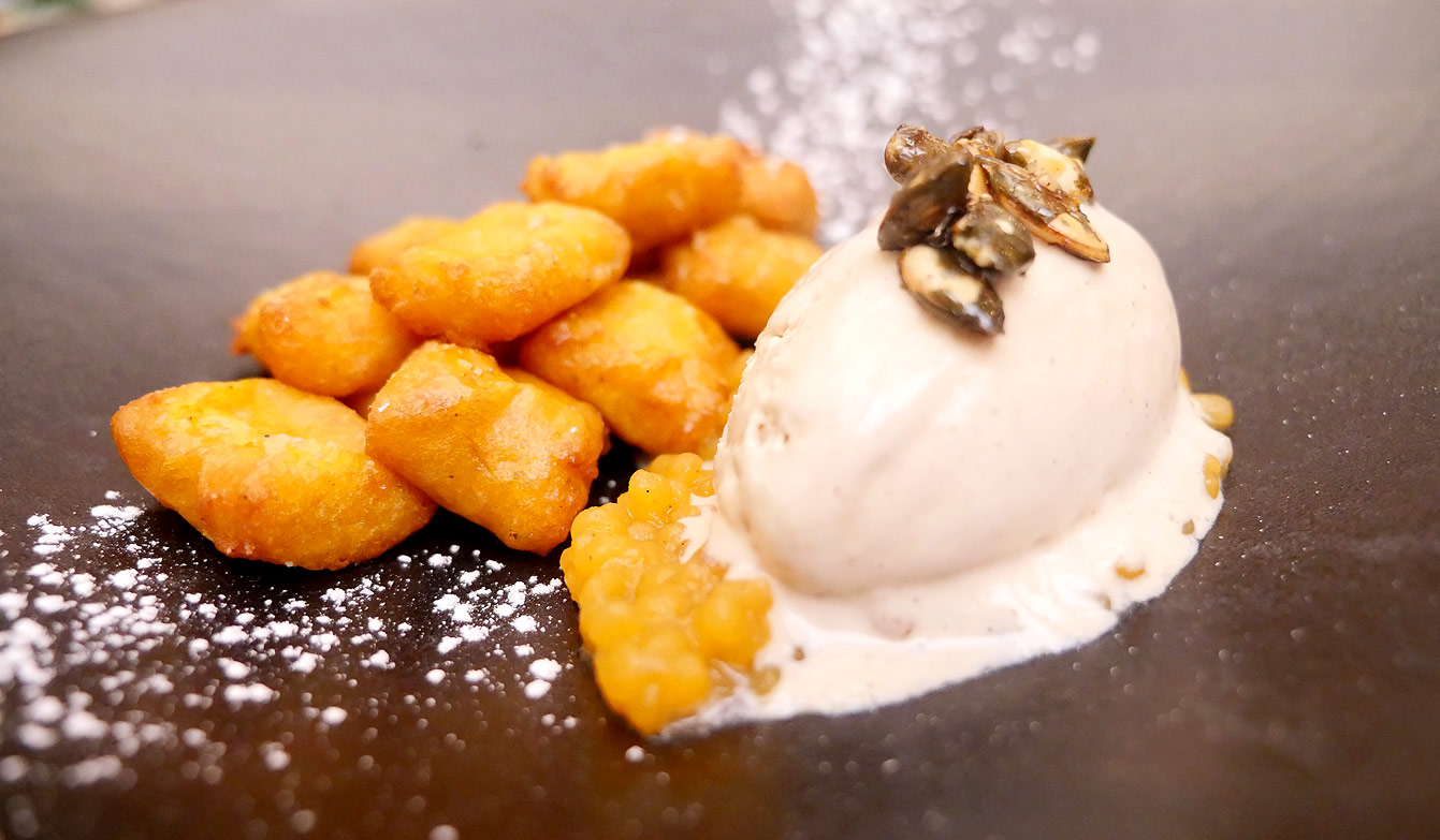 Déclinaison automnale : gnocchis de potimarron, perles de patates douces, glace au sirop d'érable