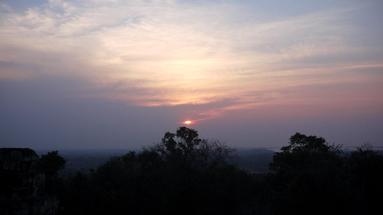 vue coucher de soliel Phnom Bakheng, Angkor