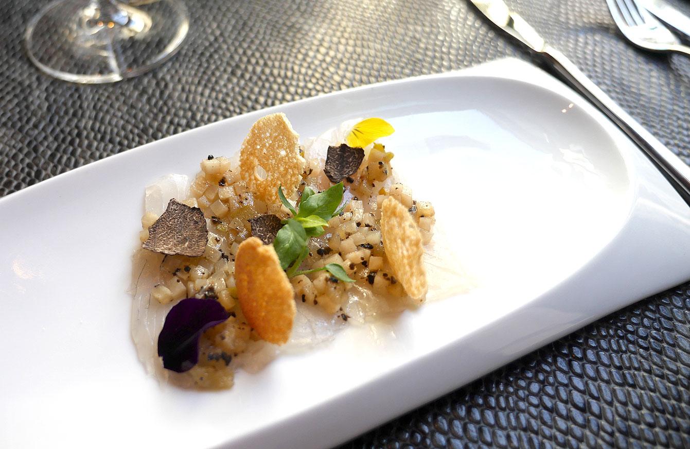 eviche de dorade Guilvinec, truffé, pomme & celeri