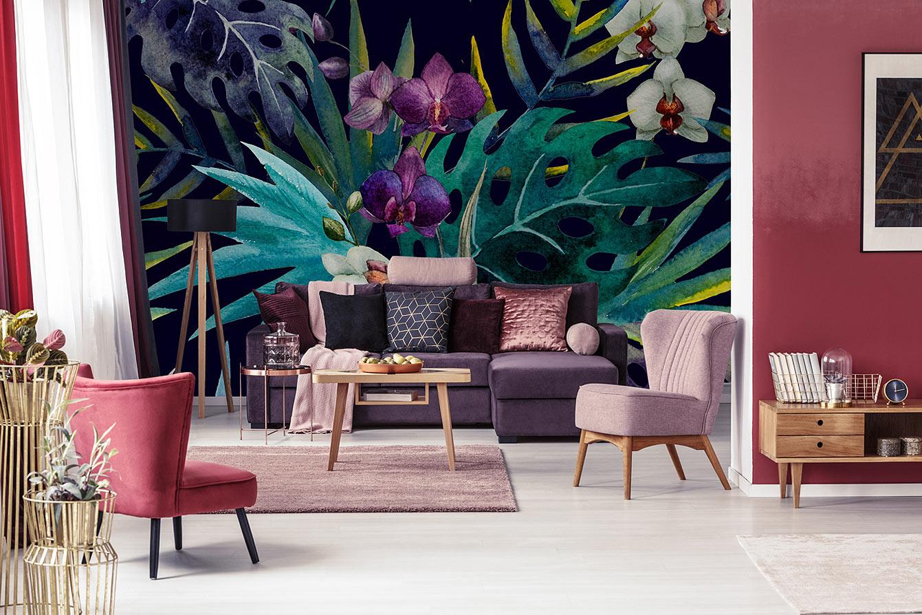 d co ma s lection de papiers peints au motif nature. Black Bedroom Furniture Sets. Home Design Ideas