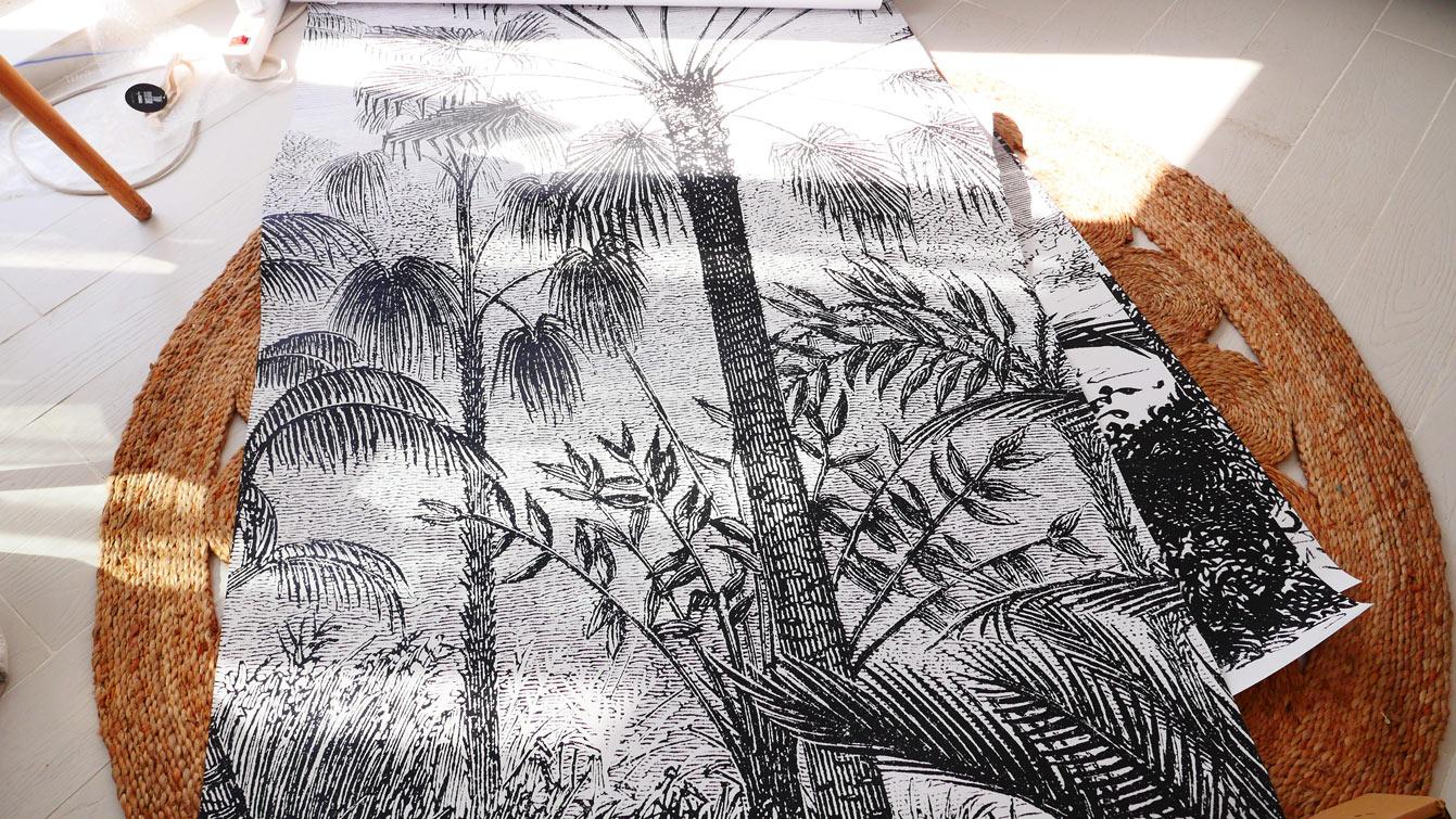 papier peint panoramique imitation gravure Scenolia