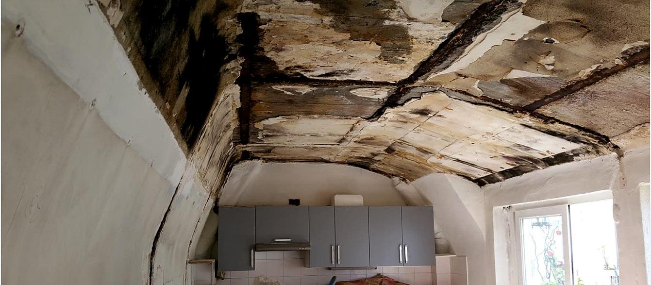Moisissure causée par l'humidité au plafond