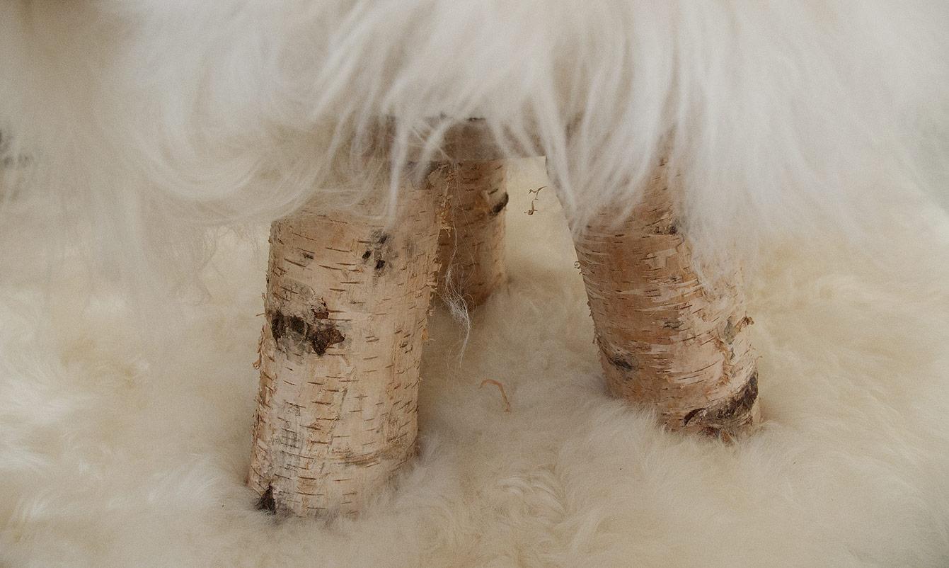 Tabouret en mouton islandais, La fourrure Peau de vache
