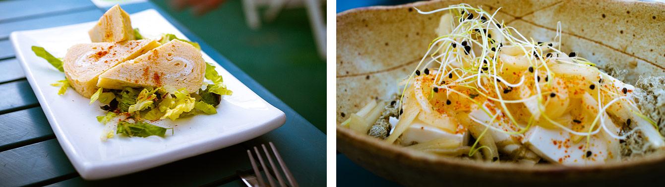 Taisho terrasse : Dashi maki Tamago : omelette enroulée japonaise / Tofu to Kombu
