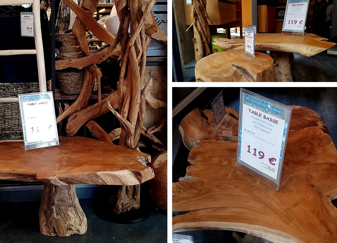 Tabouret rond teck racine, table basse en bois, teck massif
