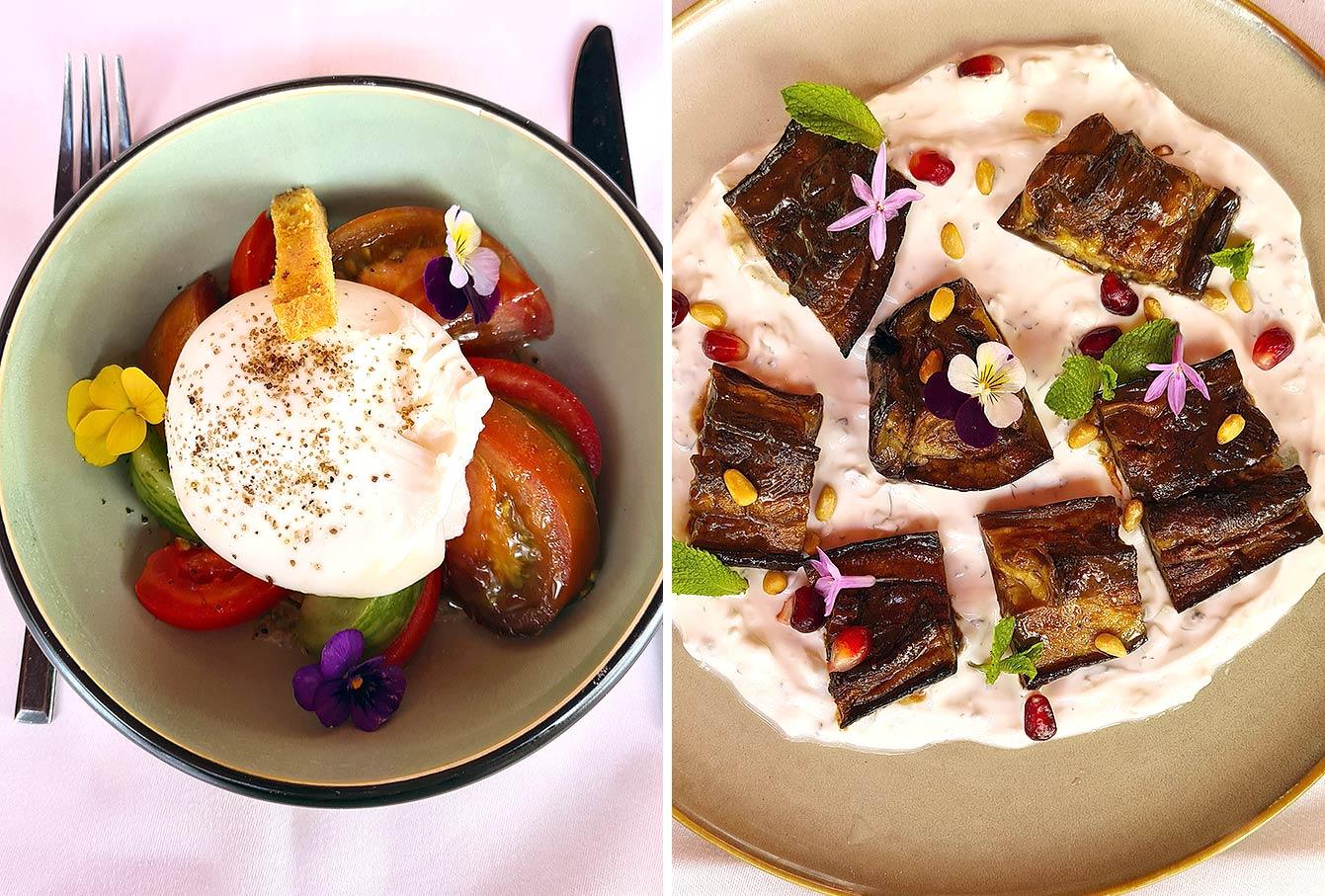 Burrata et AUBERGINE À L'AIL NOIR - 14 sauce tzatziki, B.B. Blanche Restaurant