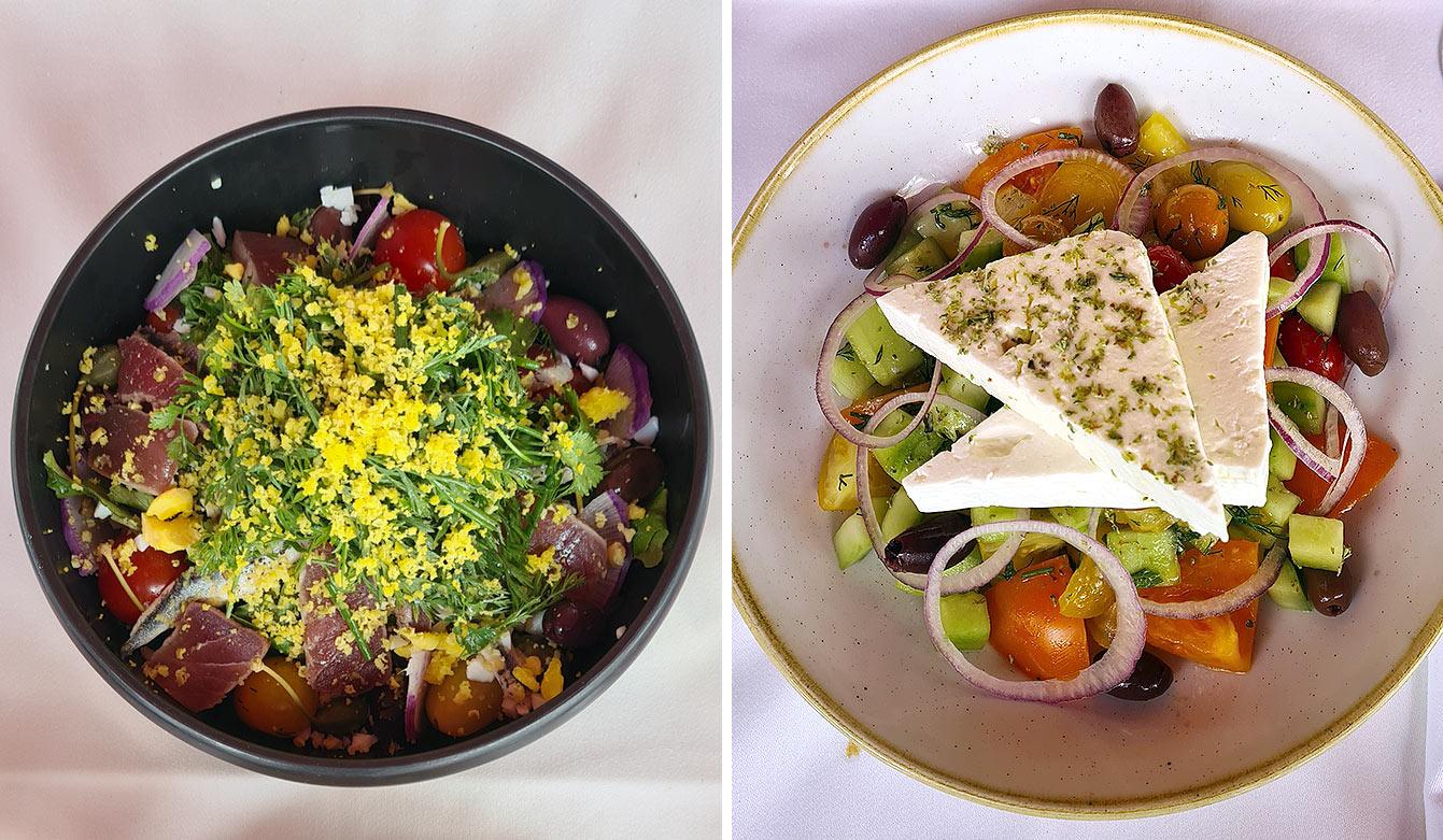 Salades niçoise et grecque, B.B. blanche restaurant